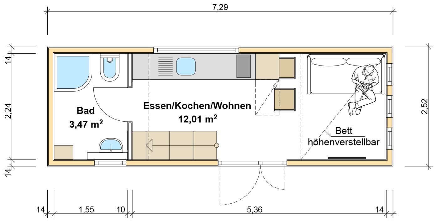 freiRAUM Tiny House Grundriss EG Heinzes Haus