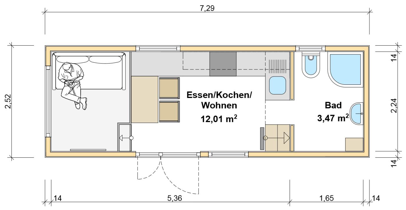 freiRAUM Tiny House Grundriss EG Leons Lodge