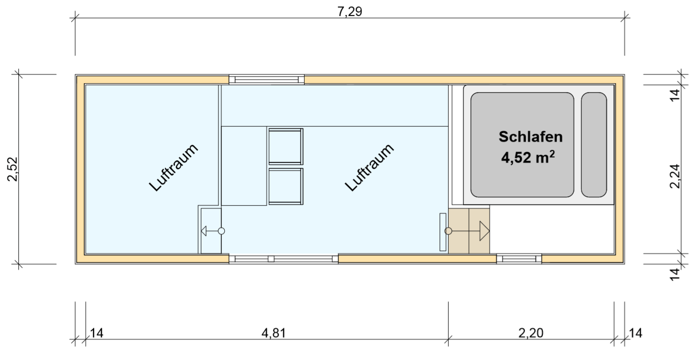 freiRAUM Tiny House Grundriss OG Leons Lodge