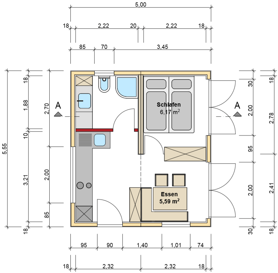 freiRAUM Tiny House Grundriss Almhuette